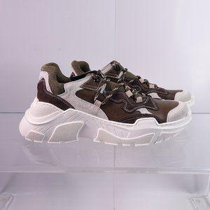 Steve Madden Wizard Leather Platform Sneaker Olive